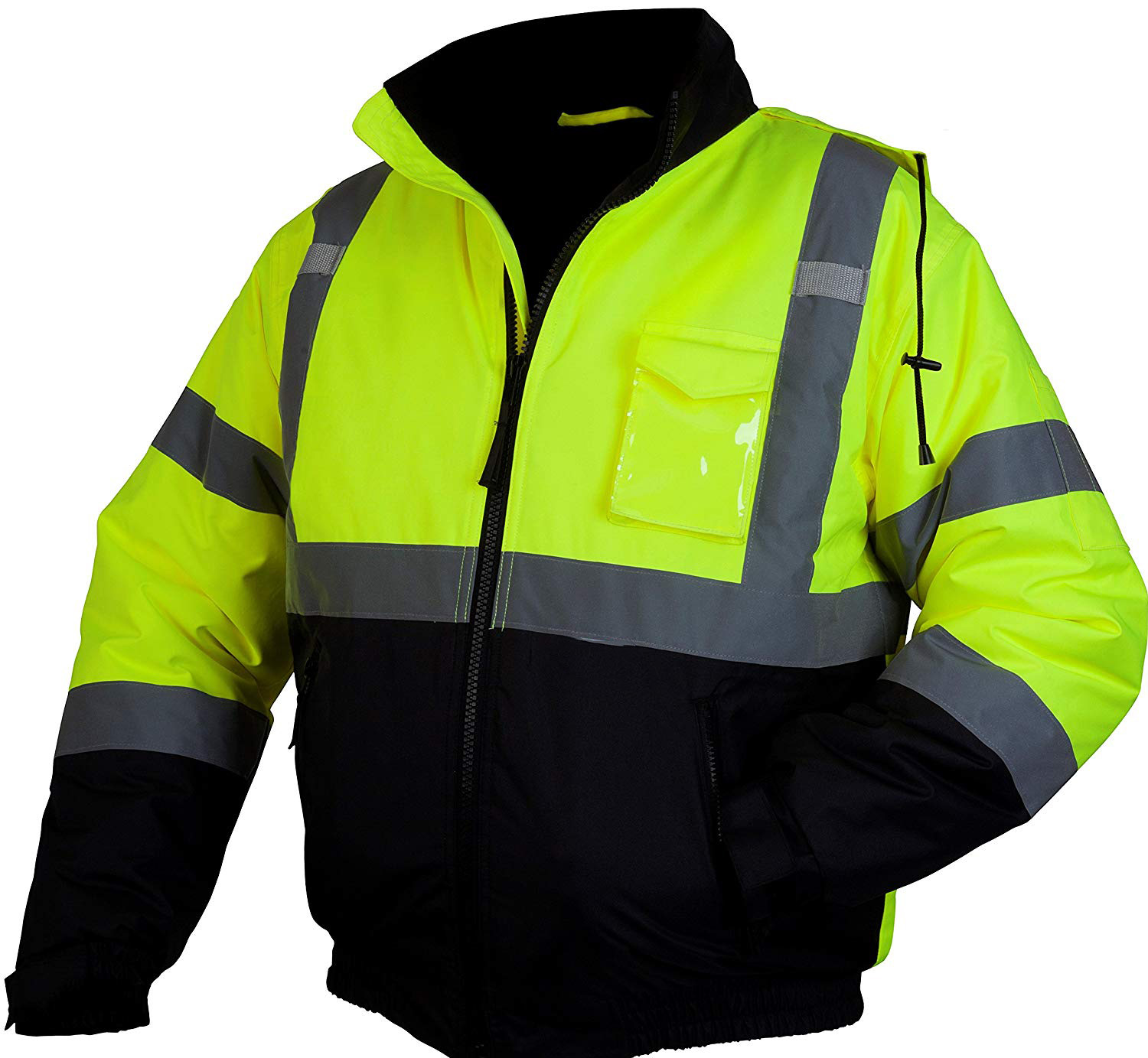 HI VIZ VISIBILTY BOMBER REFLECTIVE CONTRACTOR SECURITY WORK MEN/'S JACKET